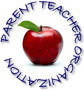 red apple surounded by Parent Teacher Organization text