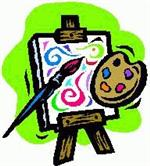 Art Easel with brush and palette