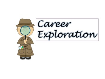 Cartoon image of a boy dressed in a detective costume with a magnifying glass.  Sign states career exploration