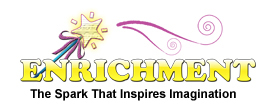 Star Picture with text stating enrichment the spark that inspires imagination