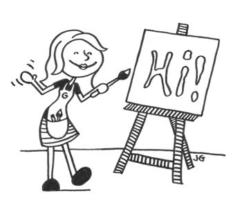 Artist drawing the word 'Hi'