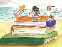 Children reading on the beach on giant books