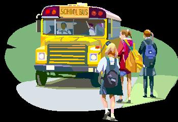 school bus with students walking towards it